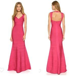 Hervé Léger Pink Camilla Gown - Rose Red Pink